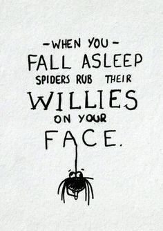 Well, this is news to me! When you fall asleep spiders rub their willies on your face.