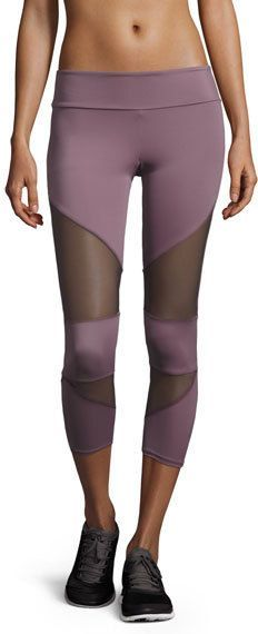 Onzie Cutout Capri Sport Leggings with Mesh Insets, Light Purple