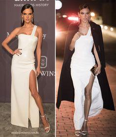 A super modelo brasileira, Alessandra Ambrósio, 35, estava magnífica nesse vestido Versace branco, com mega fenda e detalhe em paetês - White dress Looks do amfAR 2017 em NY | http://modaefeminices.com.br/2017/02/11/looks-do-amfar-2017-em-ny/