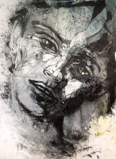Collagraph printmaking of a face