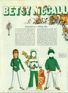 Vintage October 1970 Magazine Paper Doll Betsy McCall Adventure on a Windy Day