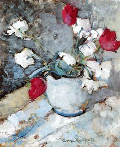 Tulips ~ Anne Redpath ~ Red [for Perfect love] and white [for forgiveness].  ~ Don't forget Valentines Day!