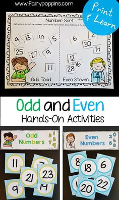 Odd and even number activities for kids. These hands-on activities and worksheets help kids to identify odd and even numbers.