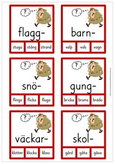 Sammansatta ord - 30 nypkort Learn Swedish, Swedish Language, Teacher Education, Teaching Materials, Teaching Tips, Montessori, Kindergarten, Preschool, Pdf