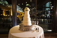 Photographer: Mclellan Style -  Event Planner: Stunning Events - Cake: Dulce Desserts Modern rooftop wedding Nashville at The Bridge Building   Cake: Dulce Desserts