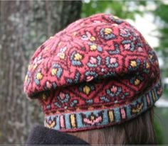 Fair Isle tam knitting pattern for Allamanda Hat with optional embroidery