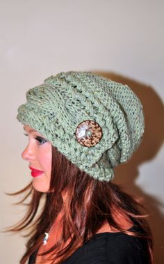 Women Hat Slouchy Hat Slouch Beanie Button Hat Hand by lucymir