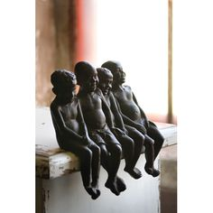Cast Iron Laughing Boys Figurine