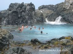 "Aruba Natural Pool - The Natural Pool, also known as ""conchi"" or ""Cura di Tortuga"", is a natural pool of water located in a very remote area in the north of Aruba. It is formed by rock and volcanic stone circles."