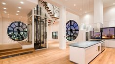 Modern Penthouse with Big Clock Windows – Clock Tower Apartment - The Great Inspiration for Your Building Design - Home, Building, Furniture and Interior Design Ideas Houses Architecture, Architecture Design, Style At Home, Porches, Tower Apartment, Penthouse Apartment, Dream Apartment, Brooklyn Apartment, Brooklyn Nyc