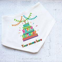 Personalised birthday bandana baby bib  toddler bib dribble