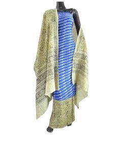 Ikat & Kalamkari Block Print Cotton Suit- Blue & White:This beautiful cotton suit has an ikat cotton kurta,and cotton dupatta and bottom in kalamkari prin