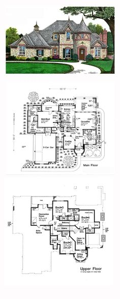 House Plan 66268 - European, French Country Style House Plan with 3437 Sq Ft, 4 Bed, 4 Bath, 3 Car Garage Modern French Country, French Country House Plans, French Country Bedrooms, French Country Decorating, French Cottage, Country Blue, Country Houses, Best House Plans, Dream House Plans