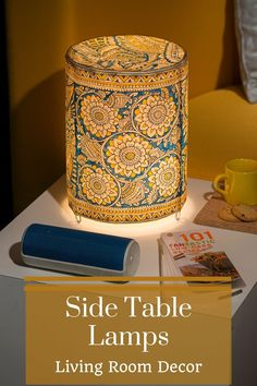 Creative Lampshades to add color to your bedroom. Table Lamps for Living Room. Diwali Lantern, Diwali Lights, Diwali Decorations At Home, Buy Lamps, Handmade Lampshades, Painting Lamp Shades, Lampshade Designs, Side Table Lamps, Indian Home Decor