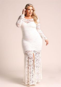 Plus Size Lace Slit Maxi Mermaid Gown