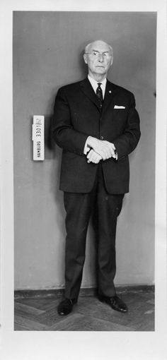 Robert Mulka, second in command of Auschwitz and assistant of Rudolf Höß on a police photograph from the Hamburg police after his arrest in 1962.