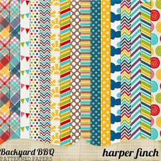 Free Printable Backyard BBQ Patterned Paper Pack from Harper Finch
