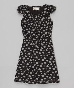 Black & White Hearts Angel-Sleeve Dress #zulily #zulilyfinds