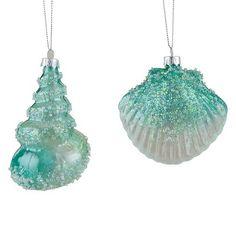 Seashell Christmas Ornaments, Seashell Ornaments, Nautical Christmas, Glitter Ornaments, Christmas Ornament Sets, Seashell Crafts, Tropical Christmas, Seashell Art, Grinch Christmas