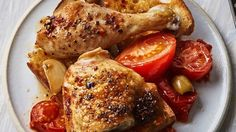 One-Dish Baked Chicken with Tomatoes and Olives Recipe | Bon Appetit