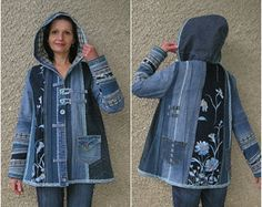 Linen coat Eco-friendly handmade clothing by EcoClo size L