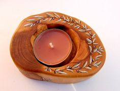 Wooden candle holder, Handmade olive wood candle holder, Hand painted olive branches candle holder, Friend gift