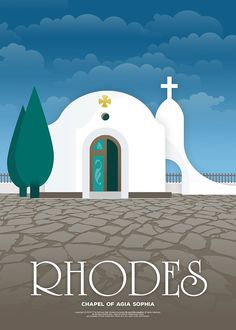 'The chapel of Agia Sophia, Rhodes (GR)' Poster by fnk-creative - - Art Deco Posters, Vintage Travel Posters, Poster Prints, Art Prints, Illustrations Vintage, Design Illustrations, Tourism Poster, Large Canvas Wall Art, Travel Illustration