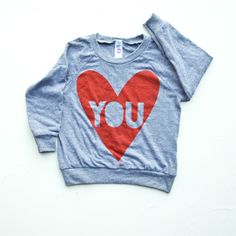 Long Sleeve Valentine Sweatshirt Kids Red Heart Love You Valentine's Day Shirt Heart Gift for Kids Hand Printed Kid Shirt by Earth Cadets by EarthCadets on Etsy https://www.etsy.com/listing/264599626/long-sleeve-valentine-sweatshirt-kids