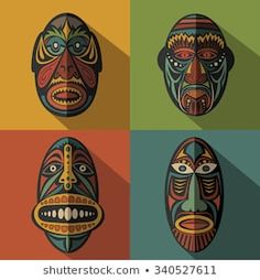 Set of African Ethnic Tribal masks on colour background — Stock Vector © keltmd Arte Tribal, Tribal Art, African Art Projects, African Colors, Afrique Art, Mask Drawing, African Art Paintings, Aboriginal Artwork, Contemporary African Art