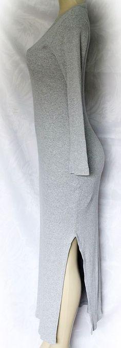EUC Hard Tail Womens Long Sleeve Maxi Dress Gray One size Ribbed Splits S Small #HardTail #Maxi #Casual