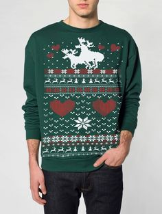 Dirty Santa, anyone?! That's hilarious! @Leslie Riemen Darsey Ugly Christmas sweater -- Moose Love -- pullover sweatshirt -- s m l xl xxl xxxl. $29.00, via Etsy.