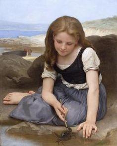 """William Bouguereau 1865-1905 """"La fille au crabe """" 1869 à Douarnenez"""