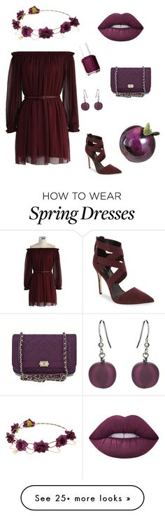 """""""Plum and Wine"""" by tigerstripes on Polyvore featuring Daya, Chicwish, Essie, Lime Crime, Martick and Chanel"""