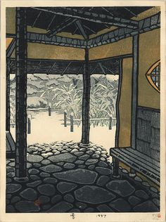 Thumbnail of Limited Edition Japanese Woodblock Print by Kasamatsu, Shiro Japan Illustration, Art Occidental, Japanese Woodcut, Art Asiatique, Art Japonais, Korean Art, Snow Scenes, Japanese Painting, Japanese Prints