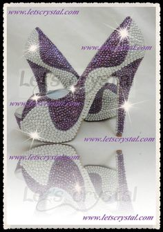 43inch peep toe high heels purple crystal swarovski by linajoyce, $198.00