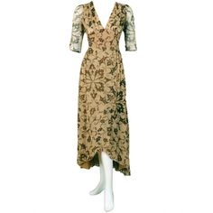 Pre-owned 1970's Thea Porter Gold Beige Print Smocked Silk-Chiffon... ($1,800) ❤ liked on Polyvore featuring dresses, aesthetic day dresses, day dresses, long floral dresses, gold metallic dress, white gold dress, long gold dress and victorian dress