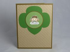 Included is one handmade thank you card to show your appreciation of a Girl Scout Daisy Leader. It features a brown base that was layered with a lighter brown, embossed cardstock. The little girl image was hand stamped and colored with Copic markers. (The stamp is from Stampin Ups Girl Power set.) A trefoil shape is behind the image.  Size: Approx. 4.25 x 5.5  Back: Contains Stampin' Up logo on back of card per their Angel Policy, as well as my company information.  Inside: Blank for you to…