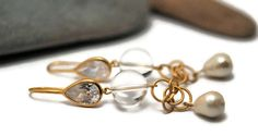 Rock Crystal Earrings Clear Quartz Crystal Rock by UneDemiLune