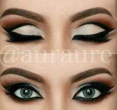 Black and white cut crease eye makeup