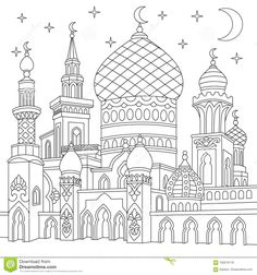 Coloring page of turkish mosque, crescent moons, twinkling stars. Islamic traditional celebration of Ramadan holiday. Freehand sketch drawing for adult antistress coloring book in zentangle style. Coloring Book Pages, Printable Coloring Pages, Coloring Pages For Kids, Colouring Sheets, Color Activities, Free Vector Graphics, Line Drawing, Sketch Drawing, Islamic Art