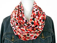 Multicolored Infinity Scarf Geometric Circles Red Pink Salmon Tan - Fashion Scarf - Circle Scarf - Back To School by ModaBellaScarves on Etsy
