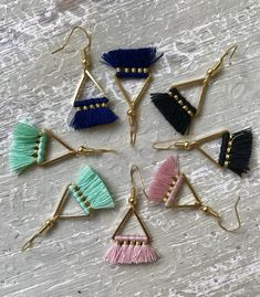 Delicate Bohemian Triangle Geometric Mini Tassel Earrings Mint Green Tassels Lightweight Boho Statement Earrings Gold Finish Gift for HerBack at it today, slangin' jewels from Come say Hi! ‍♀️ And don't forget about my Shøpwide SALE happening Green Tassel Earrings, Gold Statement Earrings, Tassel Jewelry, Fabric Jewelry, Boho Earrings, Earrings Handmade, Beaded Jewelry, Handmade Jewelry, Punk Earrings