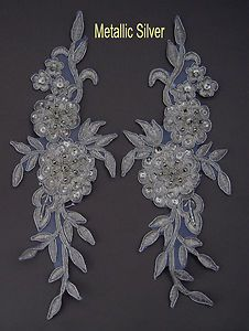 2 Pieces Embroidered Venise Lace Flowers Applique Trim Motifs Colour:M Silver #2 | eBay 9 GBP