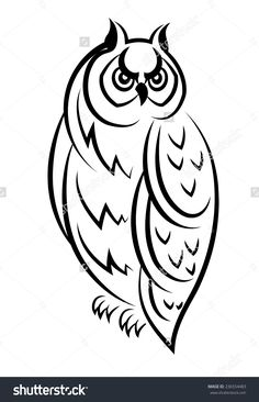 Vector Black And White Sketch Of An Owl Bird Perched Looking To The Side - 236554483 : Shutterstock