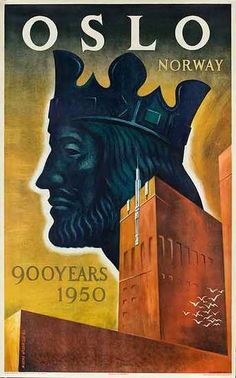 travel to norway poster | DP Vintage Posters - Oslo Norway 900 Years 1950 Original Travel Poster