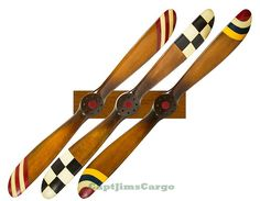 """CaptJimsCargo - Complete Set of 3 Barnstormer 47"""" Wood Airplane Propellers with Rack, (http://www.captjimscargo.com/authentic-models-home-decor/airplane-aviation-ww1-propellers/complete-set-of-3-barnstormer-47-wood-airplane-propellers-with-rack/)"""