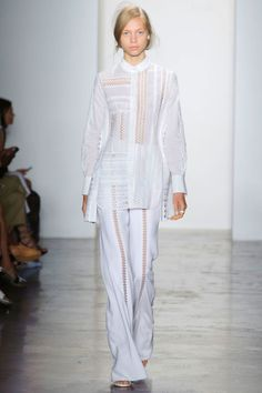 Jonathan Simkhai has found a fast following with sporty wares for the pretty young things, exploring a decidedly more overtly feminine side for Spring 2016. Embroidered poplins on a flare pant and top set the stage.
