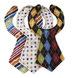 Designer Baby Necktie Bibs Set of 3 by babyglobefrogger on Etsy, $26.95