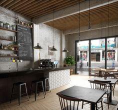 Break Time Café Interior Ceiling Wood Bar Tiles Lighting Window Floor