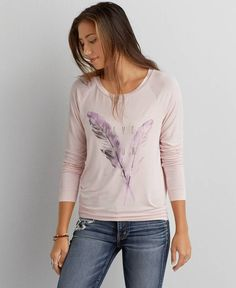 American Eagle Live Your Life Graphic T-Shirt, Women's, Pink